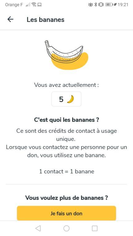 Interface Crédits Bananes Geev